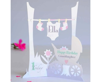 Unique Personalised 3d Paper Cut 1st Birthday Card for a  Baby Girl/Daughter/Granddaughter/Niece & Goddaughter.