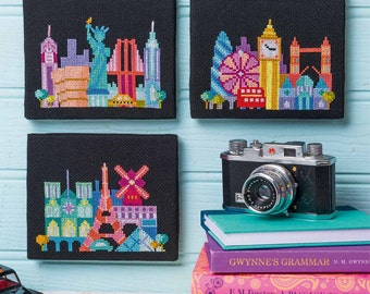Mini Cities - London, Paris, NYC Trio - Satsuma Street modern cross stitch pattern PDF - Instant download