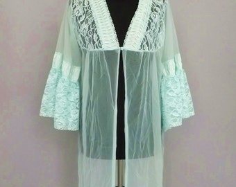 Vintage 60s Mint Dressing Robe / Dressing Gown / Night Gown - Semi Sheer - Lace - Betty Draper - Mad Men - Boudoir