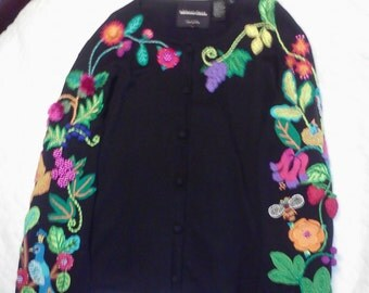 Embroidery and bead work black designer sweater