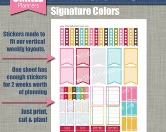 Print & Cut Stickers - Size for our Small Planners - Signature Design - Instant Download