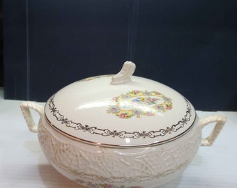 Antique Covered Vegetable Bowl - National Brotherhood of Operative Potters 22Kt Gold