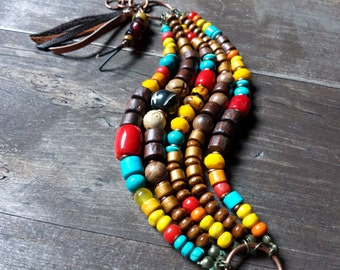 Earthy boho, gypsy tassel bracelet, ethnic beaded wrap, yoga jewelry, hippie bohemian, chunky primitive tribal jewelry, red yellow turquoise