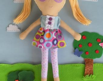 FREE Shipping, Custom Rag Doll, Custom Doll, Girl Rag Doll, Doll with Glasses, Cloth Doll, Personalized Gift, Keepsake Doll, First Doll
