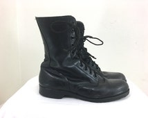 10W - Black Lace-up Military Leather Combat Boots 1979