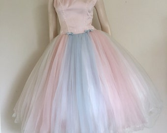 CLEARANCE Pastel Pink Blue and White Vintage 50s Tulle Prom Dress / Full Skirt / Medium