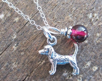 Beagle Necklace- Glass Bead Sterling Silver Custom Necklace (Your Choice of Color and Initial)