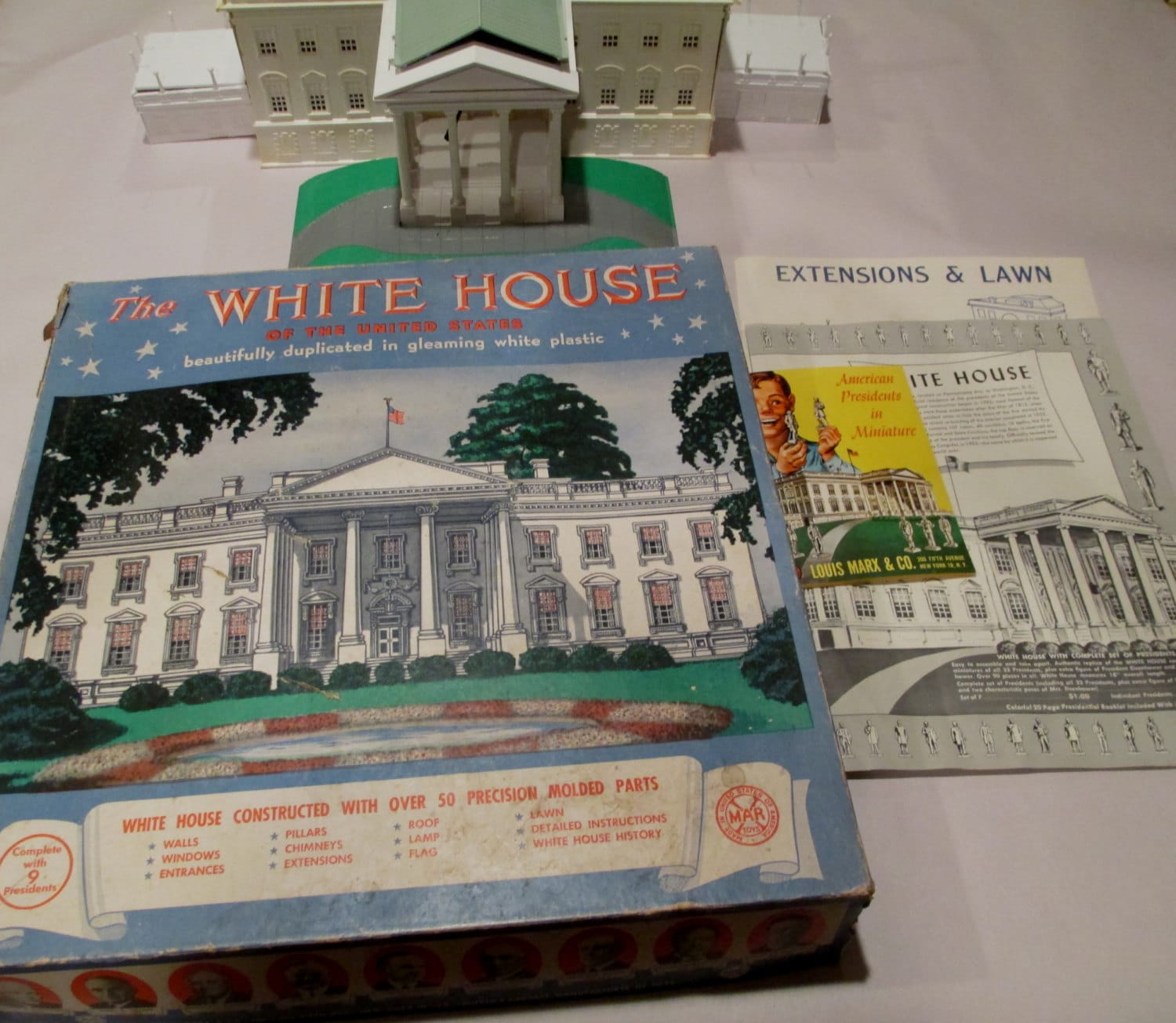 Vintage Marx The White House Plastic Model Kit Complete Set