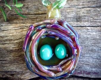 Mother's Nest~Handblown Bird's Nest Pendant (Necklace Options Available)