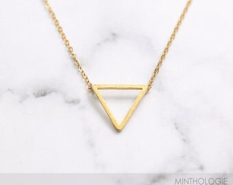 Triangle Necklace N12 • Geometric Necklace, Geo Necklace, Open Triangle, Gold Triangle Necklace, Delicate Necklace, Gift For Her
