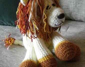 "Crocheted lion stuffed animal doll  toy ""Lorenzo"""