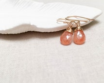 Oregon Sunstone Drops - 14k Yellow Gold Fill Wire Wrapped Faceted Sun Stone Simple Modern Earrings Gift for Her Artisan Wire Wrap