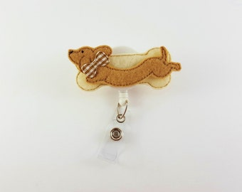 Dachshund Dog - Felt Badge Reel - Retractable ID Badge - Cute Badge Reels - Nurse Badge Reel - Veterinarian ID Holder - RN Badge Holder