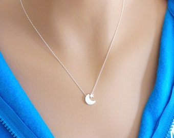 100% Sterling Silver Moon and Star Necklace, Moon Necklace, Crescent Moon, Star Necklace, Mom Necklace, Gift for her