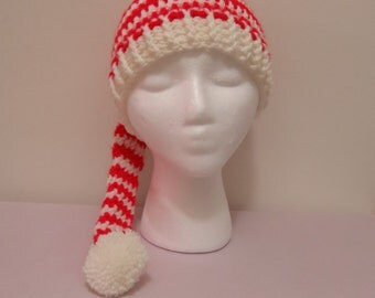 Crochet Long Tail Elf Hat, Baby Boy Hat, Baby Girl Elf Hat, Handmade Elf Hat, Newborn Elf Hat, Christmas Hat, Red and White Elf Hat