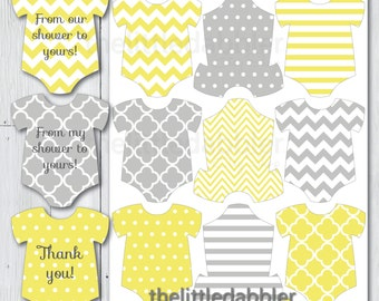 Yellow Grey Mini Baby Shower Onesie Tags -- Baby Shower One Piece Thank You Favor Gift Tags, Mini Onesie Place Setting -- Printable PDF
