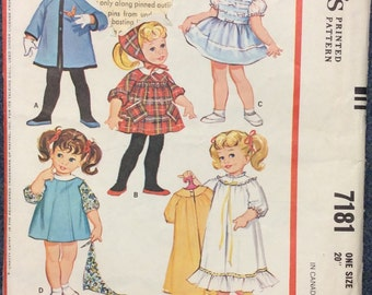 Rare Vintage Chatty Cathy McCall's Talking Doll's Wardrobe pattern 7181 ***UNCUT