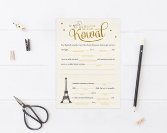 Paris Bridal Shower Wedding Madlibs - Parisian Wed Libs - Printable Mad Libs - French Bridal Shower Libs