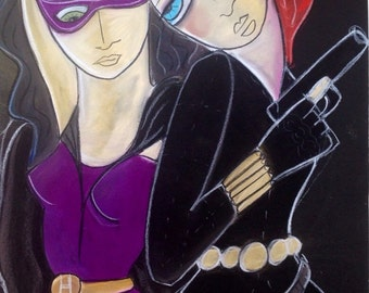 Black Widow and Huntress-Limited Edition Digital Print - by Aussie Artist Samantha Thompson