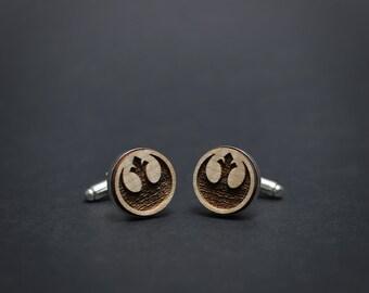 Star Wars cufflinks - REBEL ALLIANCE logo - Maple wood mens cuff links