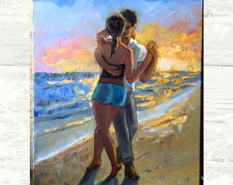 Kizomba Sunset PRINT or CANVAS Art. Kizomba or Tango dancers on the Beach Art by Alla Gerzon. Beach House Decor
