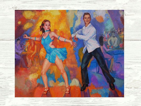 Salsa Shines  PRINT or CANVAS Art. Salsa dancers Performing, salsa footwork, colorful painting   by Alla Gerzon