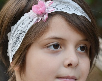 Pink headbands, white lace headband, flower headbands, bows for girls, bows for little girl, baby girl gift, baby shower gift, newborn photo