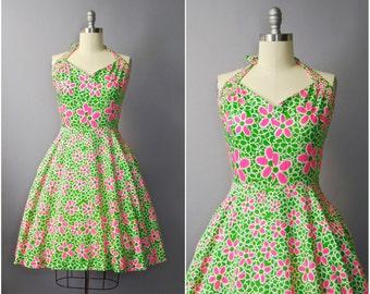 1960's Jonathan Logan Floral Halter Sun Dress • medium