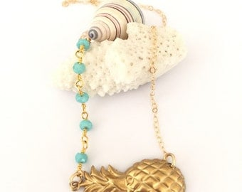 Vintage Pineapple Charm Bar Layering Boho Beach Tropical Mermaid Gold Brass Ocean Mermaid