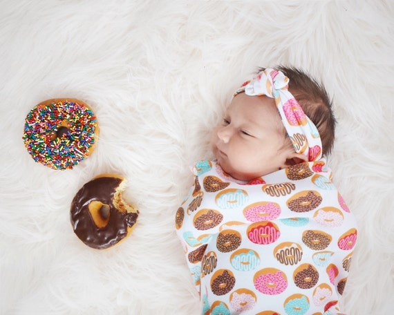 Donuts Donut Swaddle Sack Swaddle Cocoon Swaddle by mintandarrows