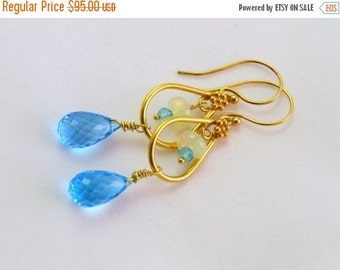 Blue Topaz Faceted Briolette And Opal Earrings- Dangle Wire Wrapped Earrings-Blue Drops -Vermeil Ear wires