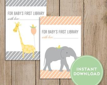 Printable Baby Shower Bookplate. Baby Book Sticker. Baby Bookplate. Gender Neutral Book Label. First Library. Elephant Giraffe. Peach Shower