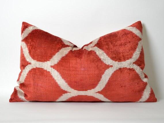 Red Ikat Velvet Pillow Cover Lumbar Pillow Red White By