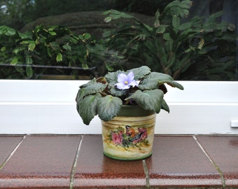 Flower pot, planter, flowerpot, shabby chic pot, decor, garden container, plant pots, storage home decor, metal flower pot, plant container
