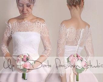Off-Shoulder   milky white wedding bolero/ French Chantilly Lace /bridal shrug /jacket 3/4  sleeve