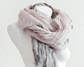 Pure Linen Scarf/ Pink Scarf / Natural Linen Shawl / Hand Dyed Linen Scarves / Woman Fashion Accessories / Flax Beach Scarf / Gifts idea