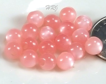 7mm Vintage Lucite Pink Rose Moonglow Side-drilled beads/buttons - Lot size 18
