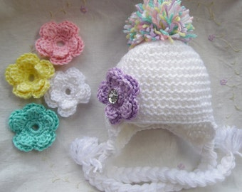 Baby Hat With Flower, Infant Winter Hat, Handmade Baby Gift, Hat with interchangeable Flower, Newborn Baby Hat, White Baby Hat, Infant Hat