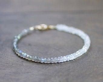 Ombre Labradorite & Moonstone Delicate Bracelet, Sterling Silver or Gold Filled, Shaded Grey White Natural Gemstone Crystal Beaded Bracelet