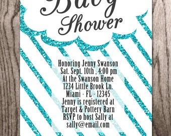 Baby Shower Invitation, Glitter Rain Clouds