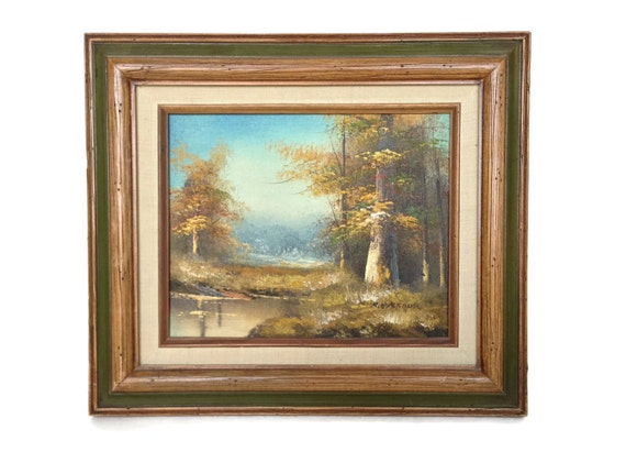 Vintage painting oil on canvas stream in the woods signed K Balfour