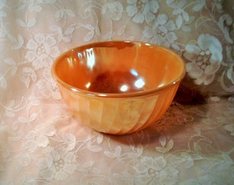 SALE ***Vintage Fire King Peach Lustreware Mixing Bowl - Swirl or Rippled Pattern***