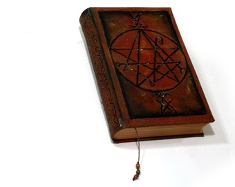 Necronomicon Grimoire, 300 page Hardback Sketchbook, Thick Blank Book of Shadows, Handmade Pentagram Journal