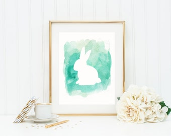 Bunny Print, Woodland Nursery Art Print in Turquoise Watercolor