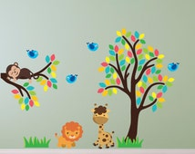 Branch and Tree With Jungle Animals Wall Stickers, Jungle Wall Decals, Animal Wall Art, Wall Transfer - Full Colour Vinyl Stickers - PPA025