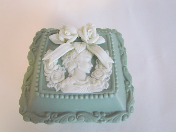 Vintage Cameo Sage Green And White Trinket Box Romantic