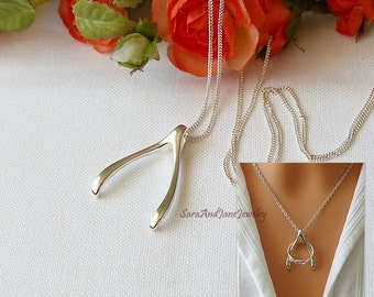 Silver Wishbone Necklace, Ring Holder, Gift For Wife, Sister, Mum, Nurse, Doctor, Ring Holder Necklace