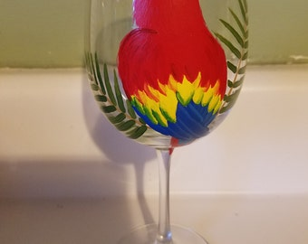 Scarlet Macaw wine glass, hand painted