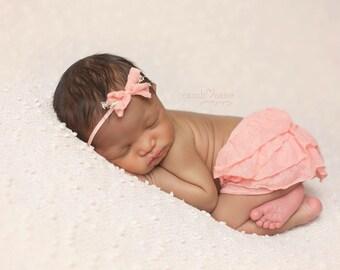 Bow Headband, Headband, Peach Headband, Flower Headband, Newborn Skirt, Newborn Ruffle Skirt, Photography Prop, Photo Prop, Baby Headband
