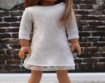 18 Inch Girl Doll Clothes | Ivory White Velvet and Lace 3/4 Sleeve DRESS for Dolls such as American Girl